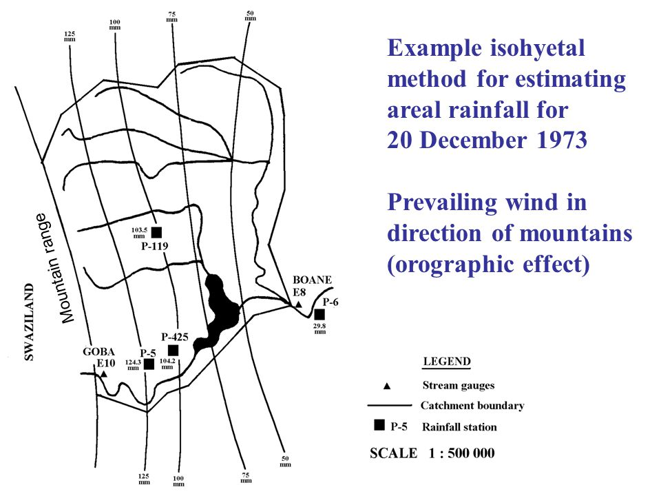 Example isohyetal method for estimating areal rainfall for