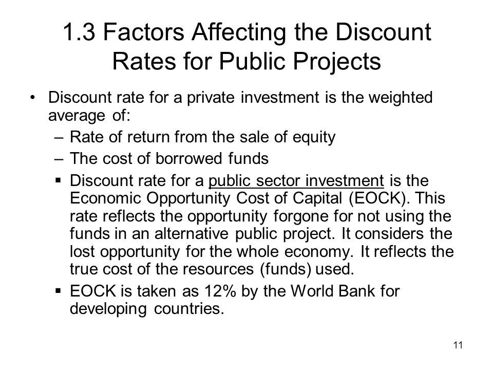 1.3 Factors Affecting the Discount Rates for Public Projects