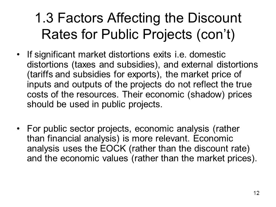 1.3 Factors Affecting the Discount Rates for Public Projects (con't)