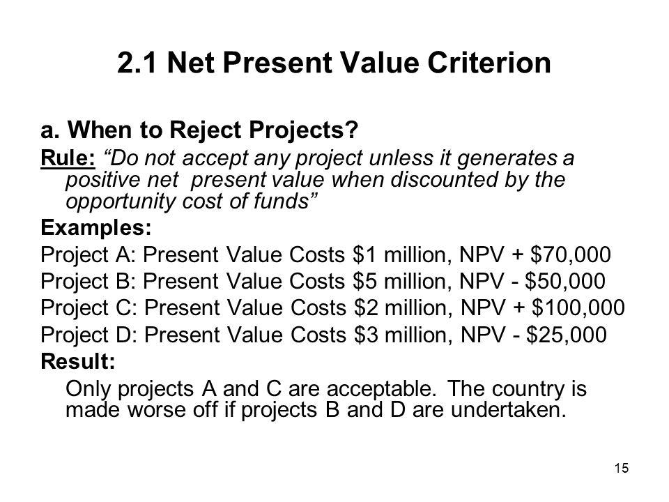 2.1 Net Present Value Criterion