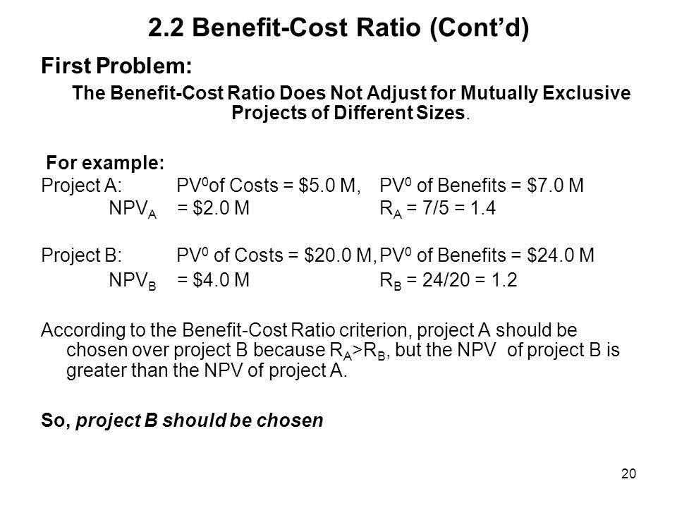 2.2 Benefit-Cost Ratio (Cont'd)