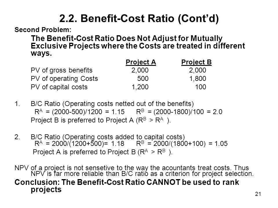2.2. Benefit-Cost Ratio (Cont'd)