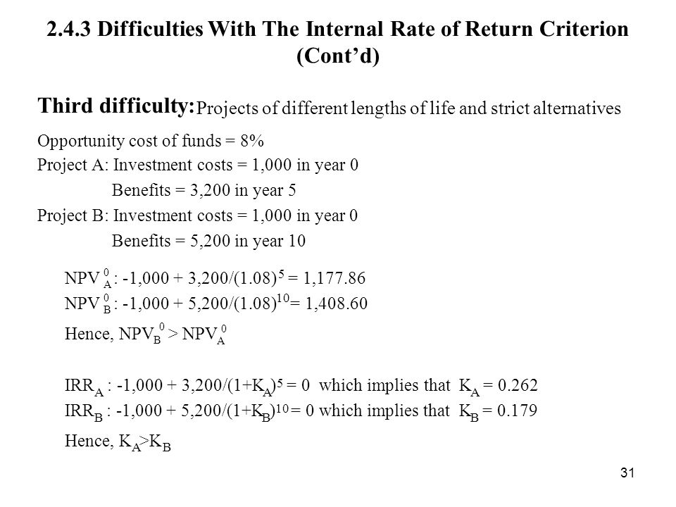 2.4.3 Difficulties With The Internal Rate of Return Criterion (Cont'd)