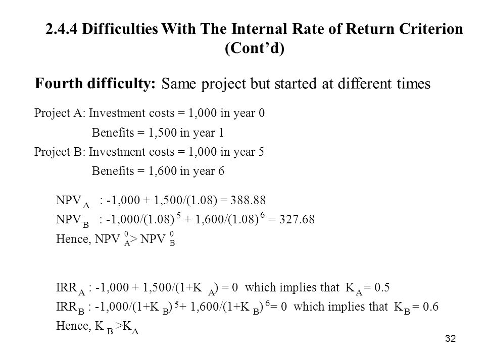 2.4.4 Difficulties With The Internal Rate of Return Criterion (Cont'd)