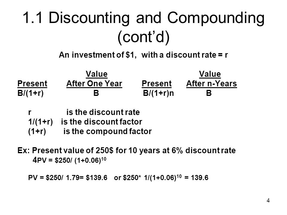 1.1 Discounting and Compounding (cont'd)