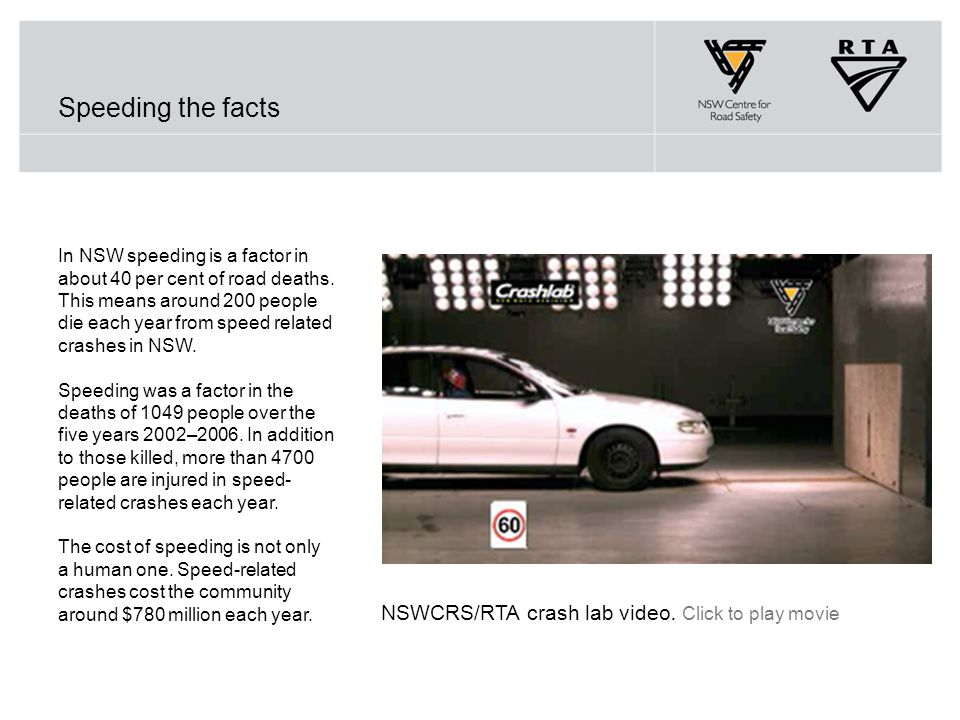 Speeding the facts NSWCRS/RTA crash lab video. Click to play movie