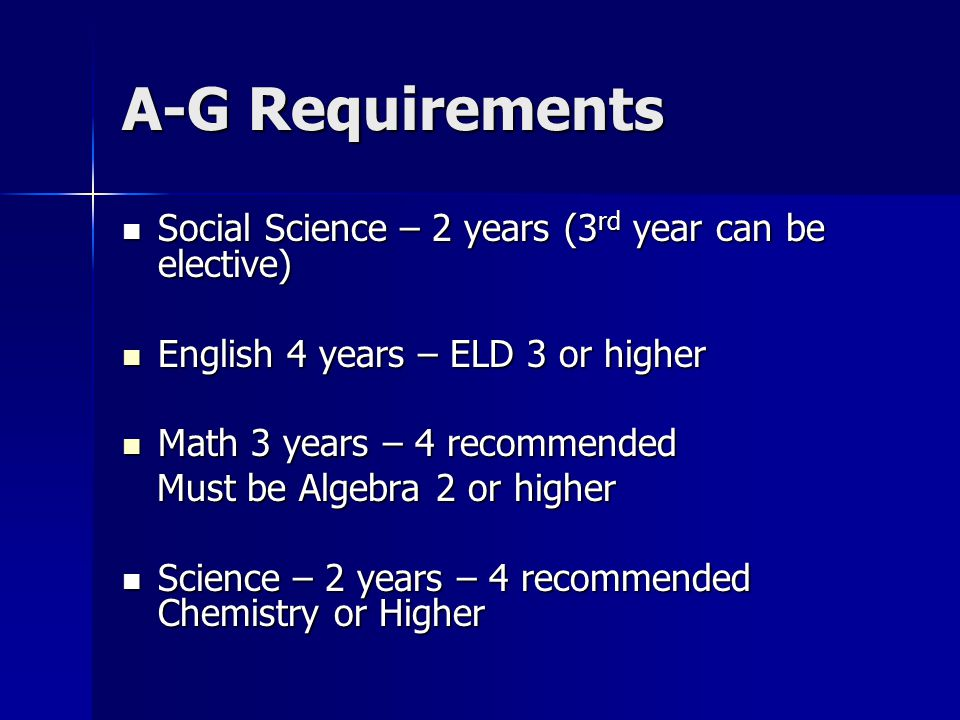 A-G Requirements Social Science – 2 years (3rd year can be elective)