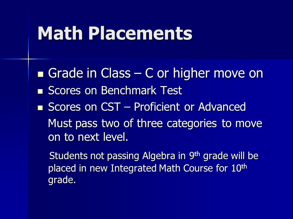 Math Placements Grade in Class – C or higher move on