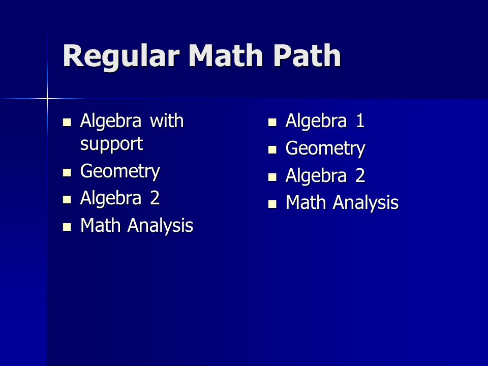 Regular Math Path Algebra with support Geometry Algebra 2