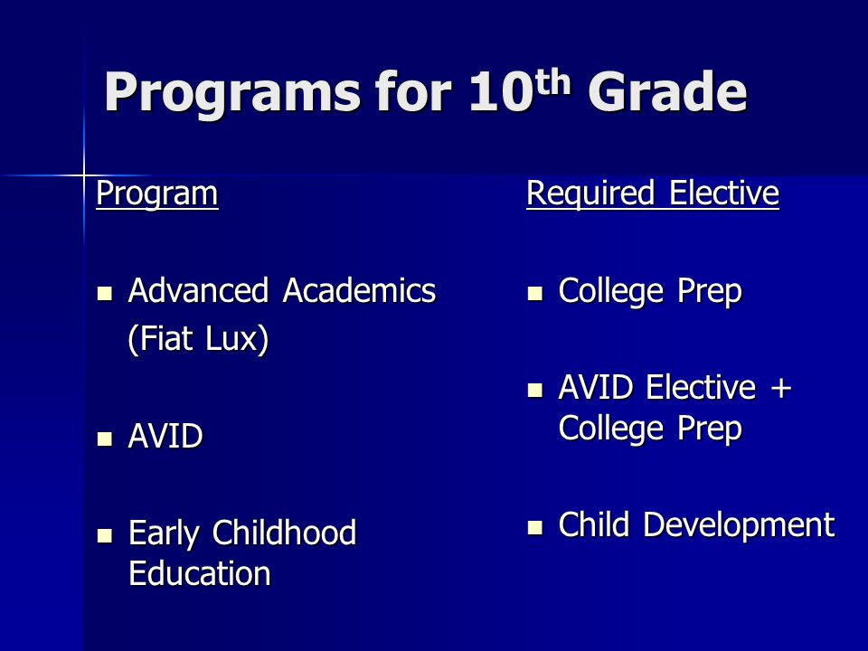 Programs for 10th Grade Program Advanced Academics (Fiat Lux) AVID