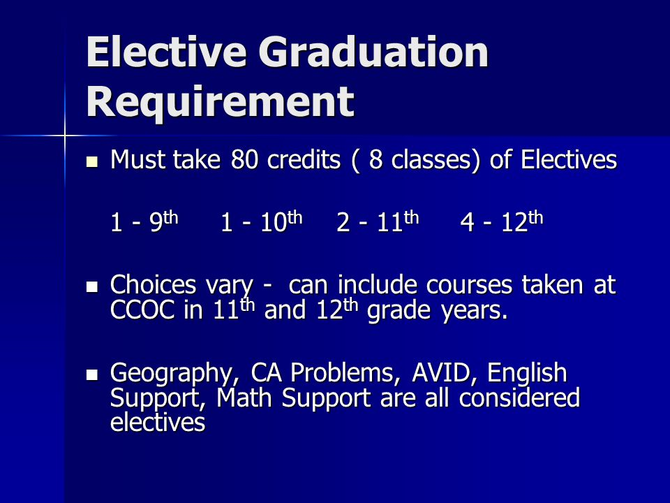 Elective Graduation Requirement