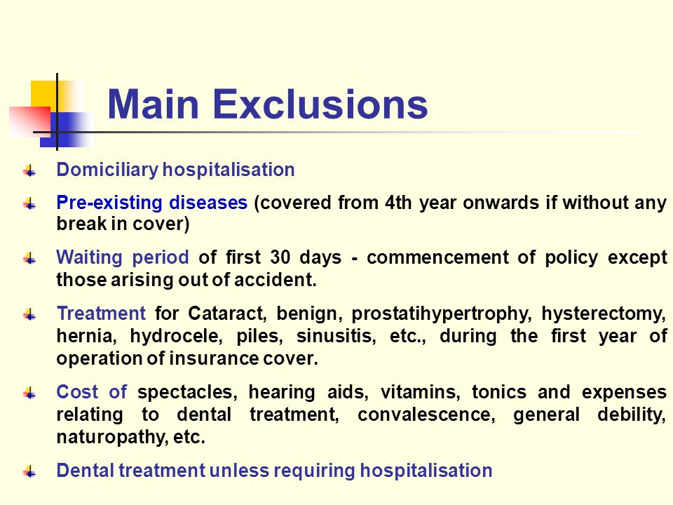Main Exclusions Domiciliary hospitalisation