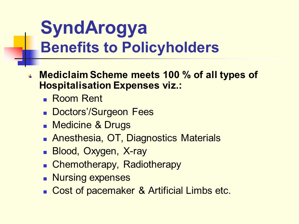 SyndArogya Benefits to Policyholders