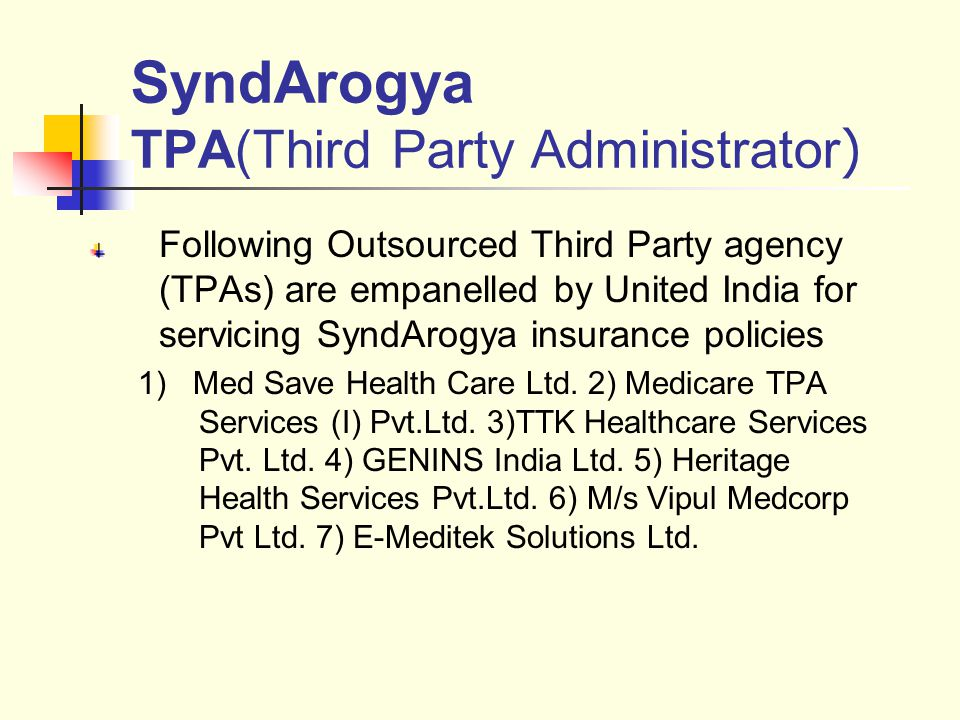 SyndArogya TPA(Third Party Administrator)