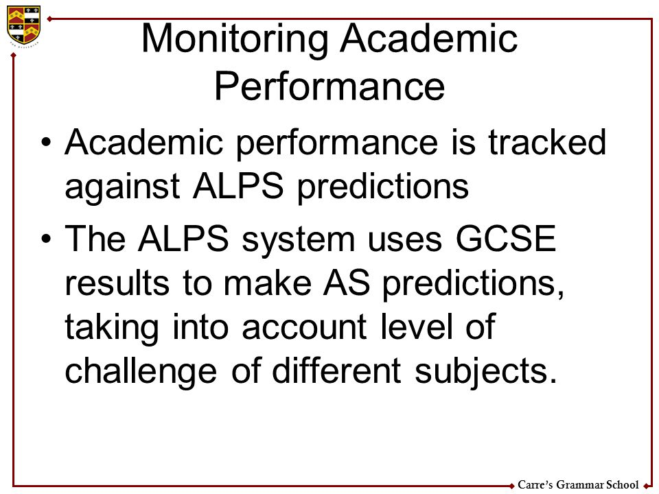 Monitoring Academic Performance