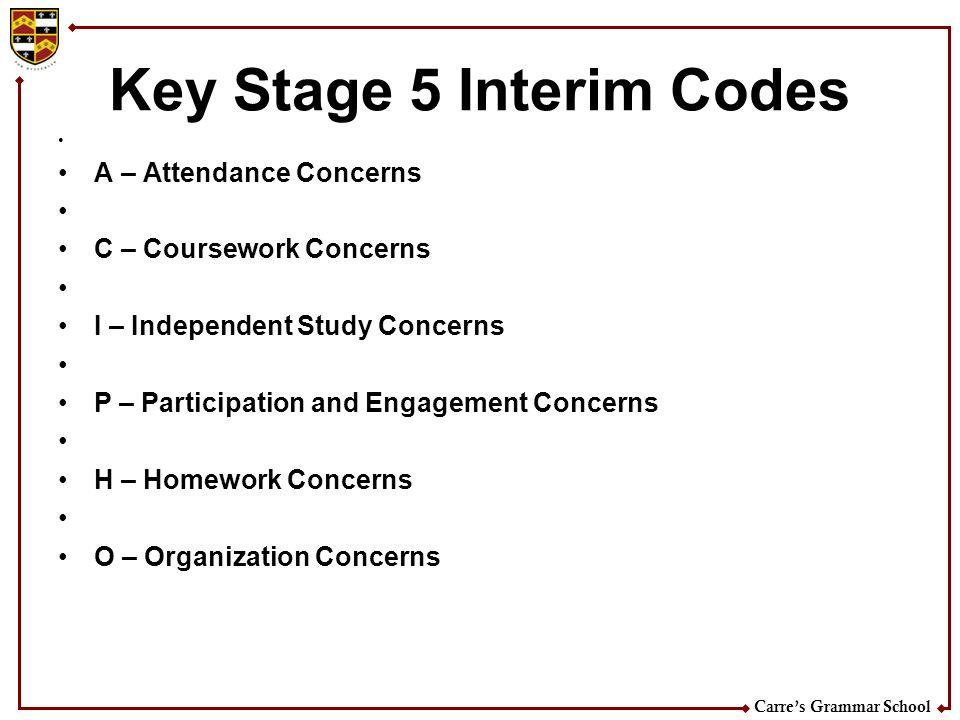 Key Stage 5 Interim Codes
