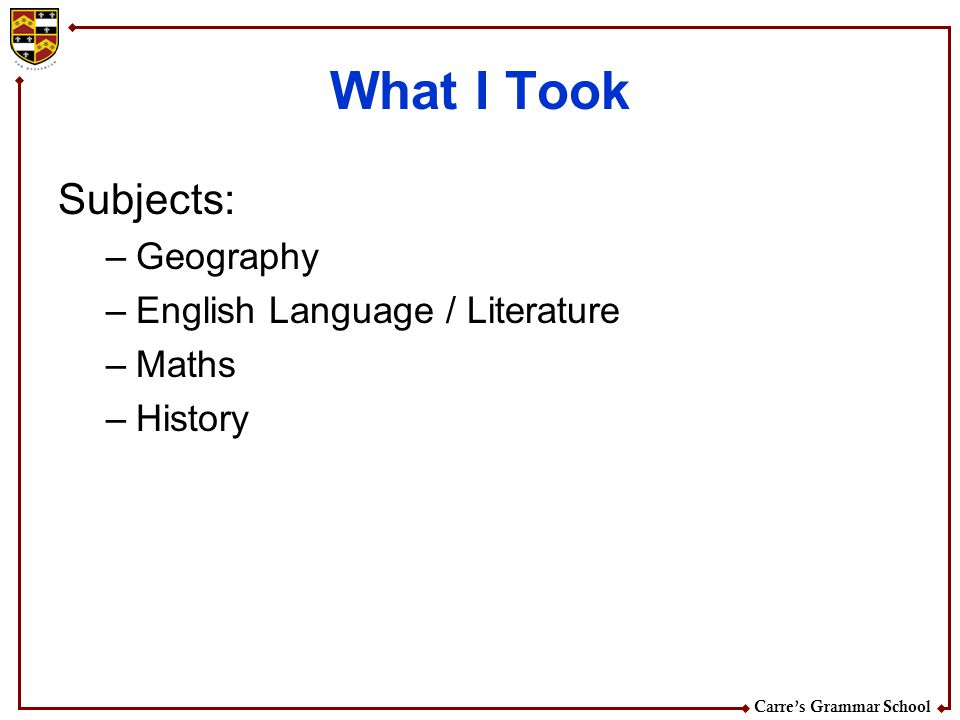 What I Took Subjects: Geography English Language / Literature Maths
