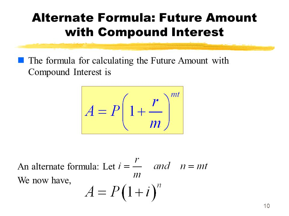 Alternate Formula: Future Amount with Compound Interest
