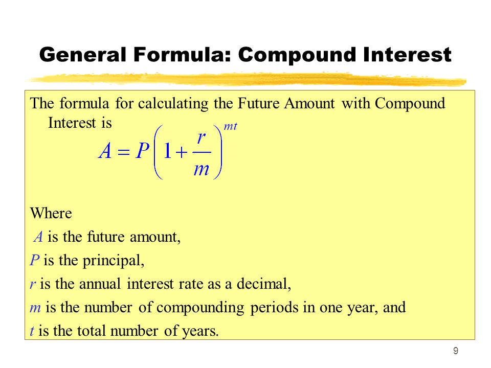 General Formula: Compound Interest