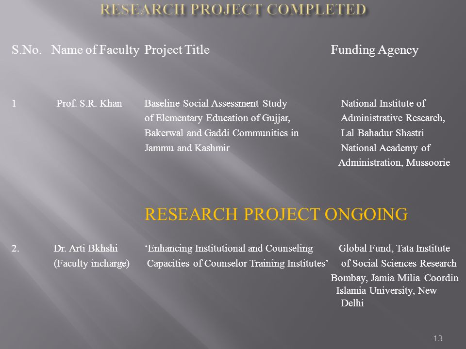 RESEARCH PROJECT COMPLETED