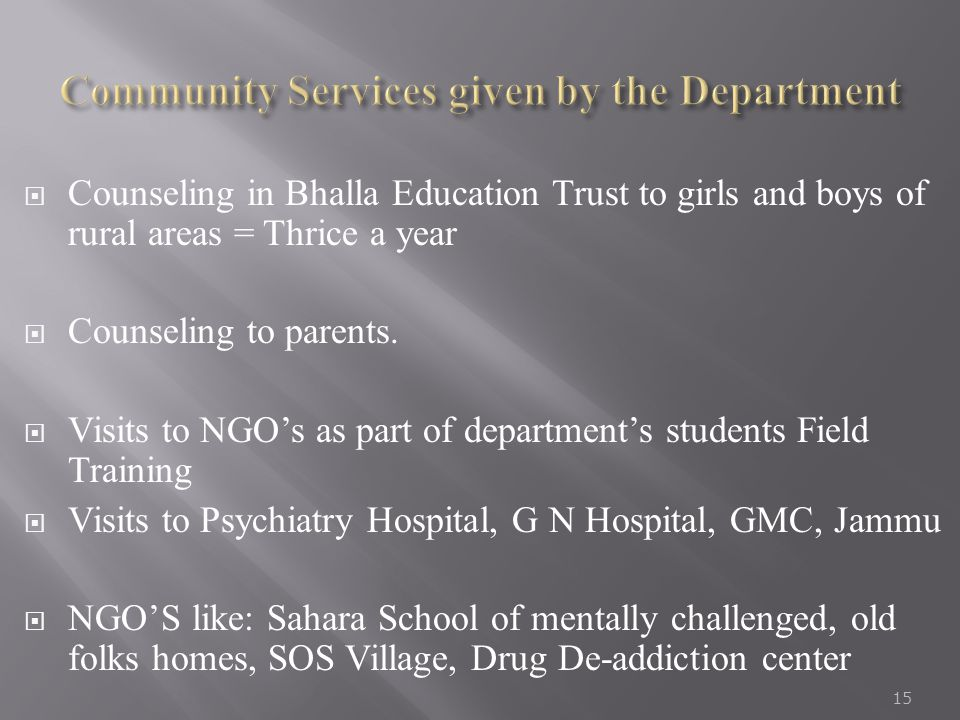 Community Services given by the Department