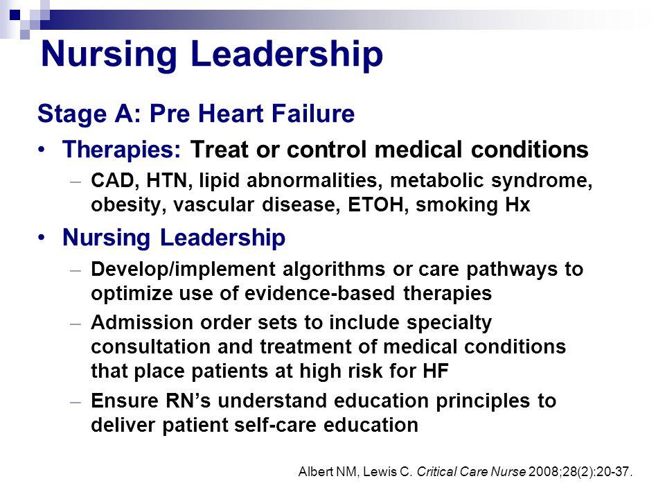 Nursing Leadership Stage A: Pre Heart Failure