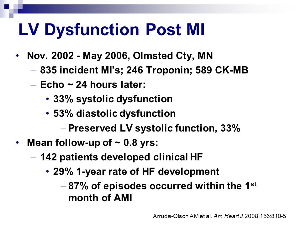 LV Dysfunction Post MI Nov. 2002 - May 2006, Olmsted Cty, MN