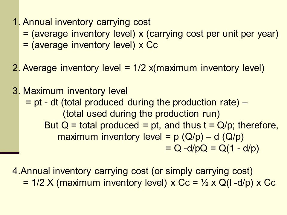 1. Annual inventory carrying cost