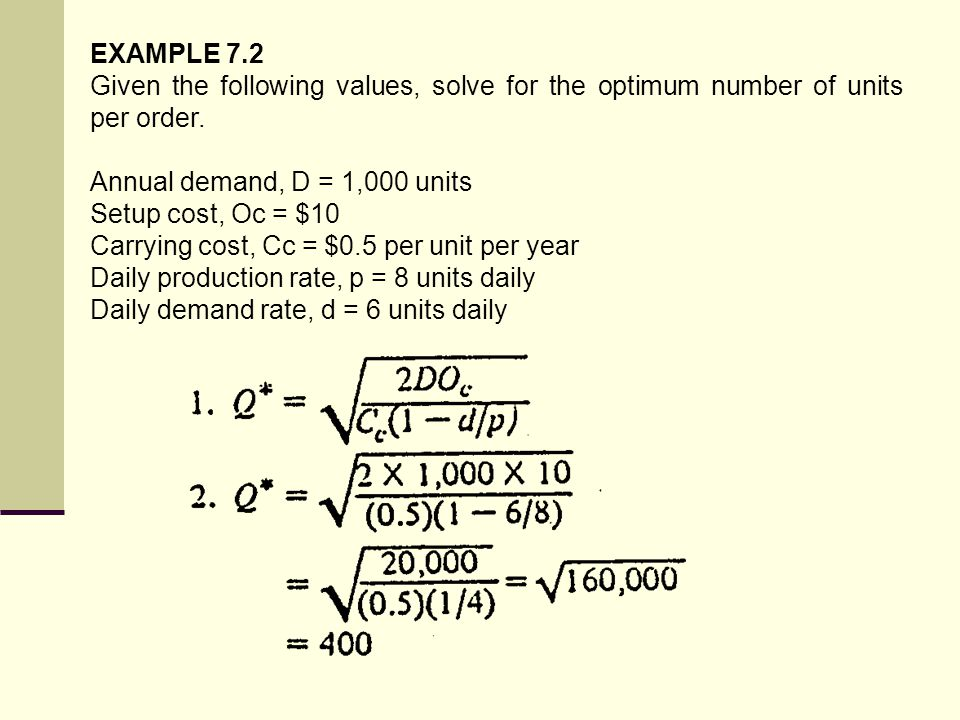 EXAMPLE 7.2 Given the following values, solve for the optimum number of units per order. Annual demand, D = 1,000 units.