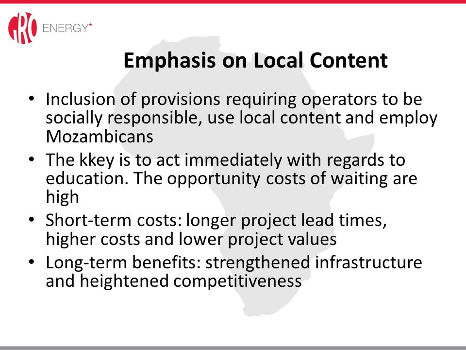 Emphasis on Local Content