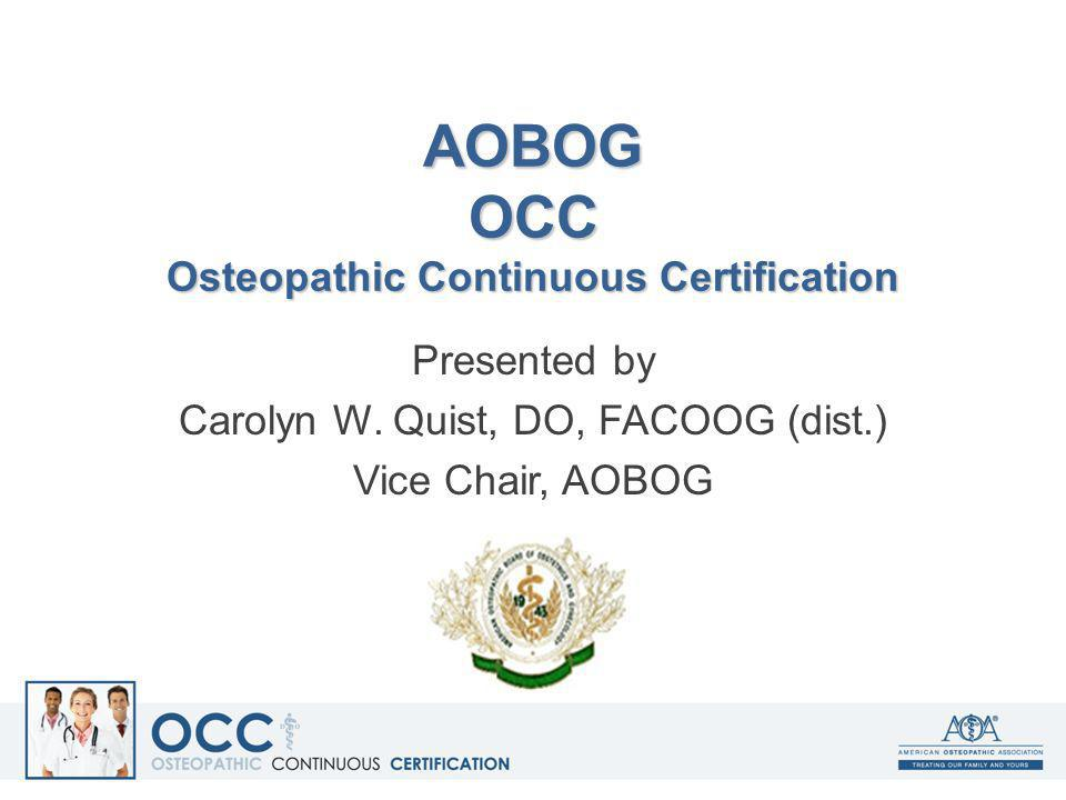 AOBOG OCC Osteopathic Continuous Certification