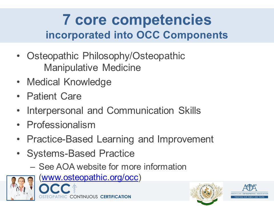 7 core competencies incorporated into OCC Components