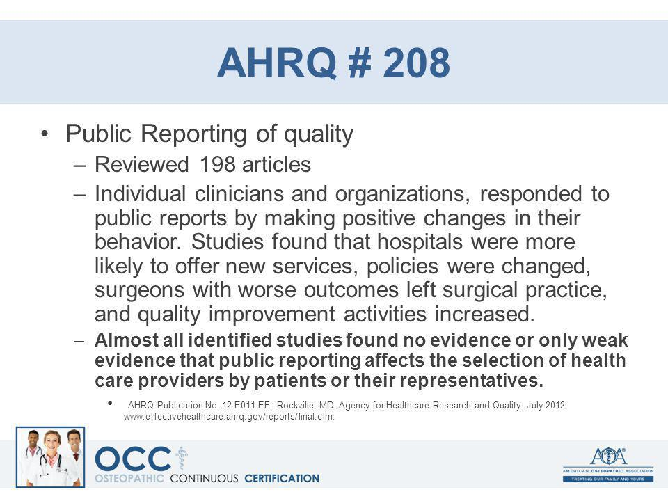 AHRQ # 208 Public Reporting of quality Reviewed 198 articles