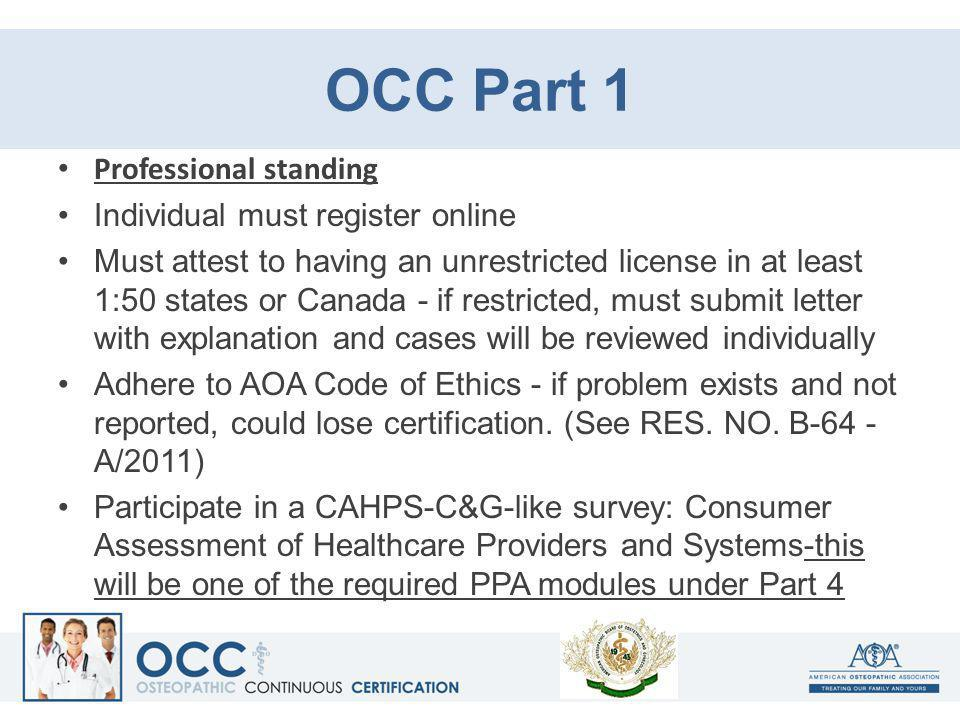 OCC Part 1 Professional standing Individual must register online