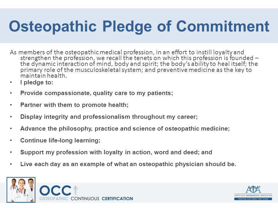 Osteopathic Pledge of Commitment
