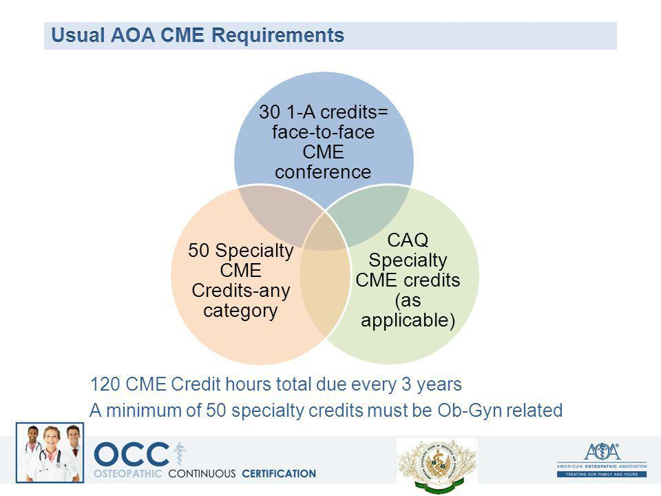 Usual AOA CME Requirements