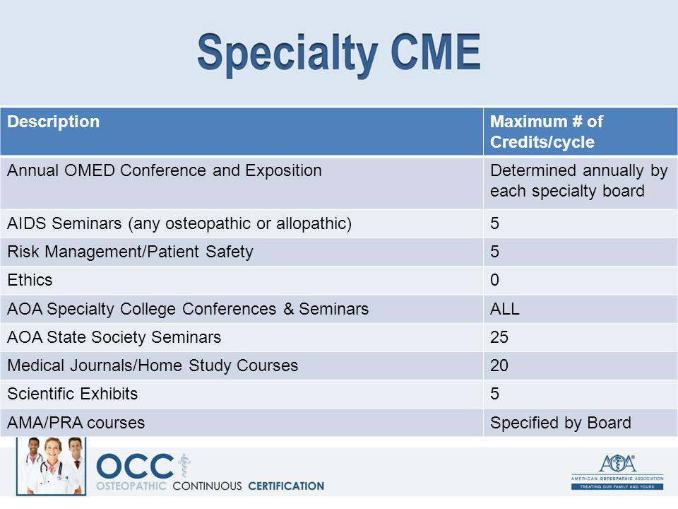 Description Maximum # of Credits/cycle. Annual OMED Conference and Exposition. Determined annually by each specialty board.