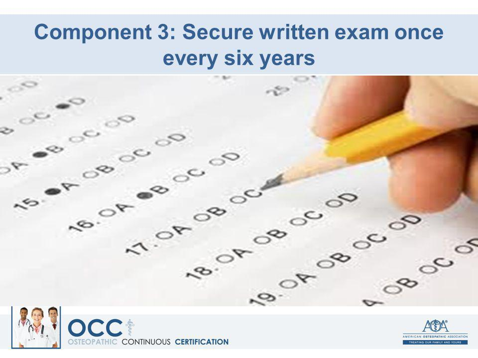 Component 3: Secure written exam once every six years
