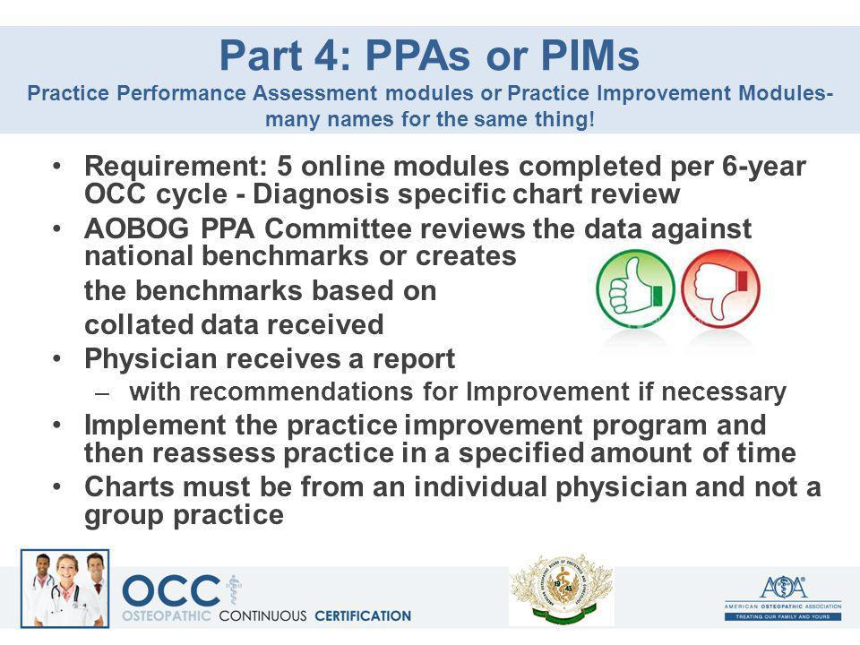 Part 4: PPAs or PIMs Practice Performance Assessment modules or Practice Improvement Modules-many names for the same thing!