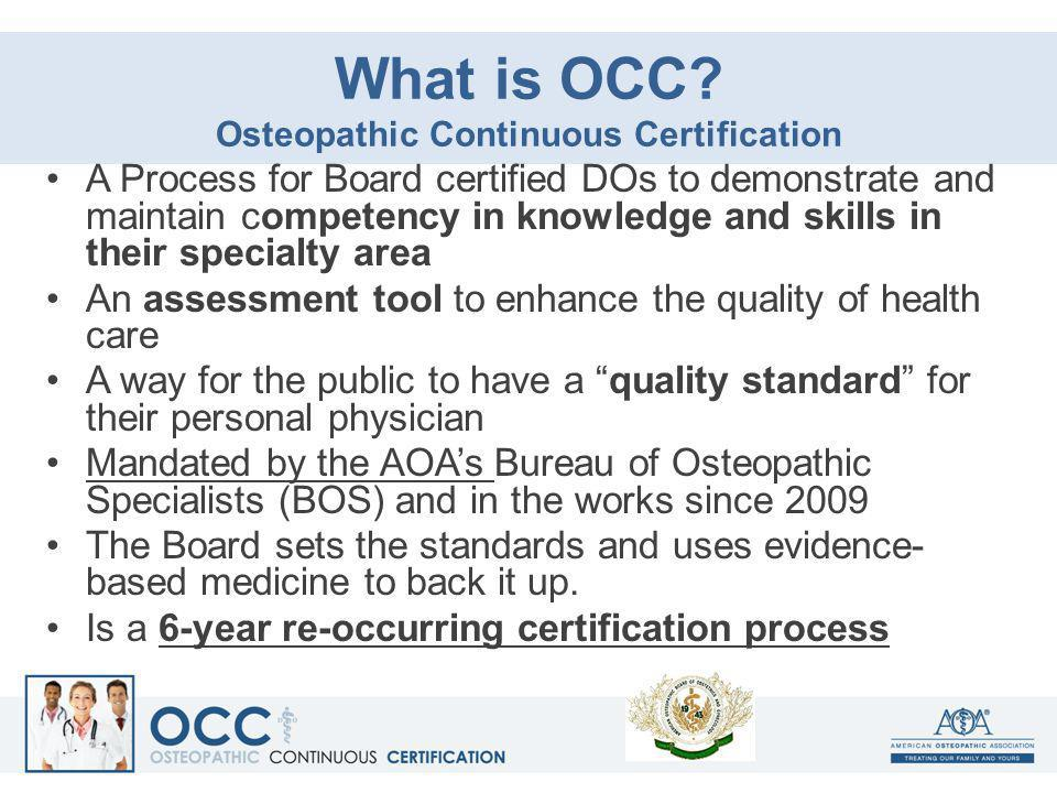 What is OCC Osteopathic Continuous Certification