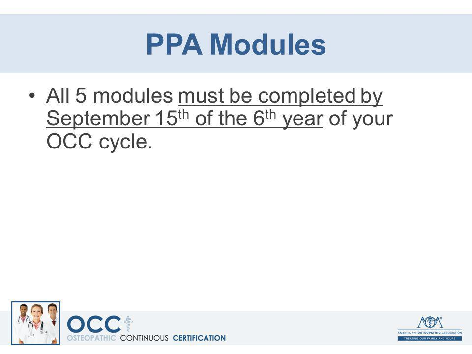 PPA Modules All 5 modules must be completed by September 15th of the 6th year of your OCC cycle.