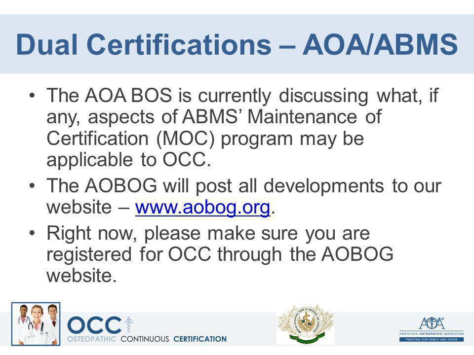 Dual Certifications – AOA/ABMS