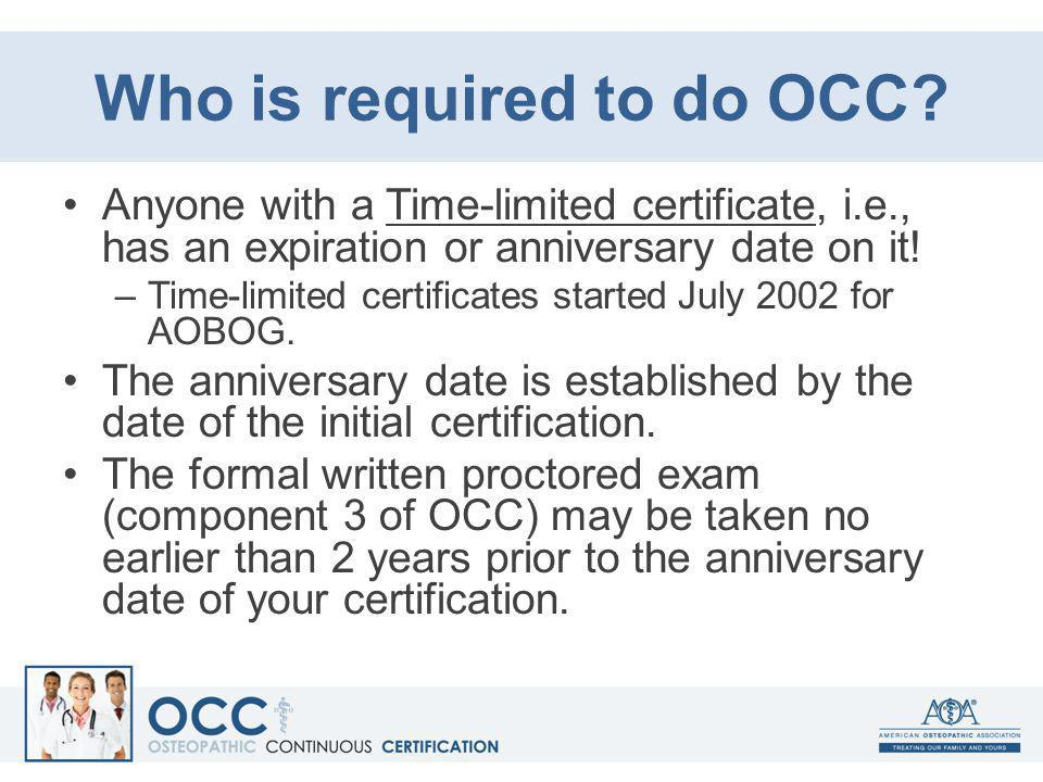 Who is required to do OCC