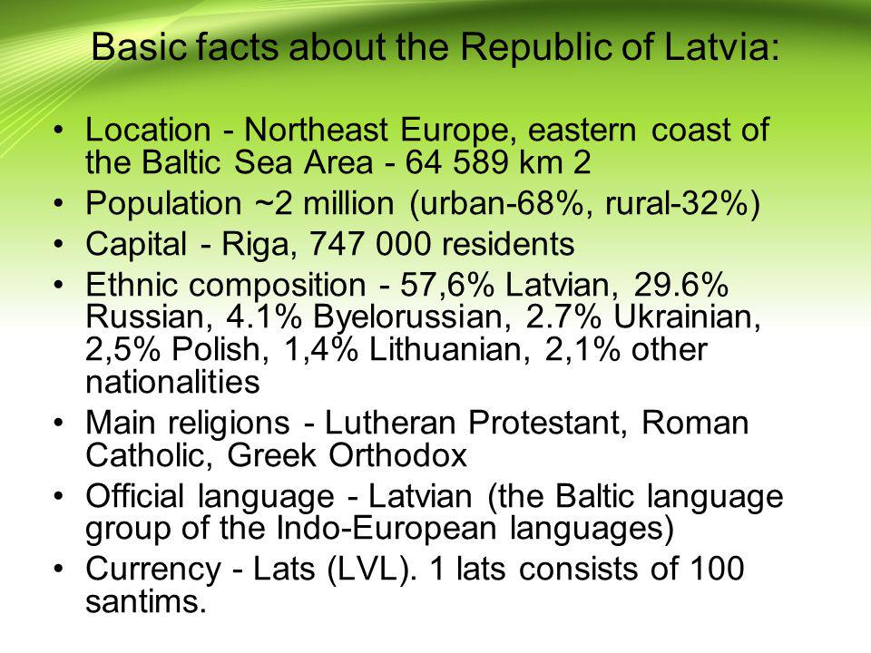 Basic facts about the Republic of Latvia: