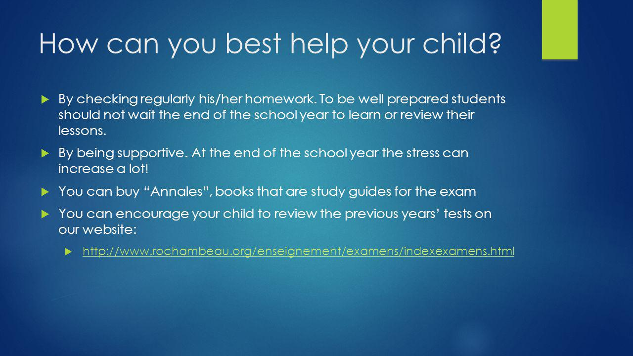 How can you best help your child