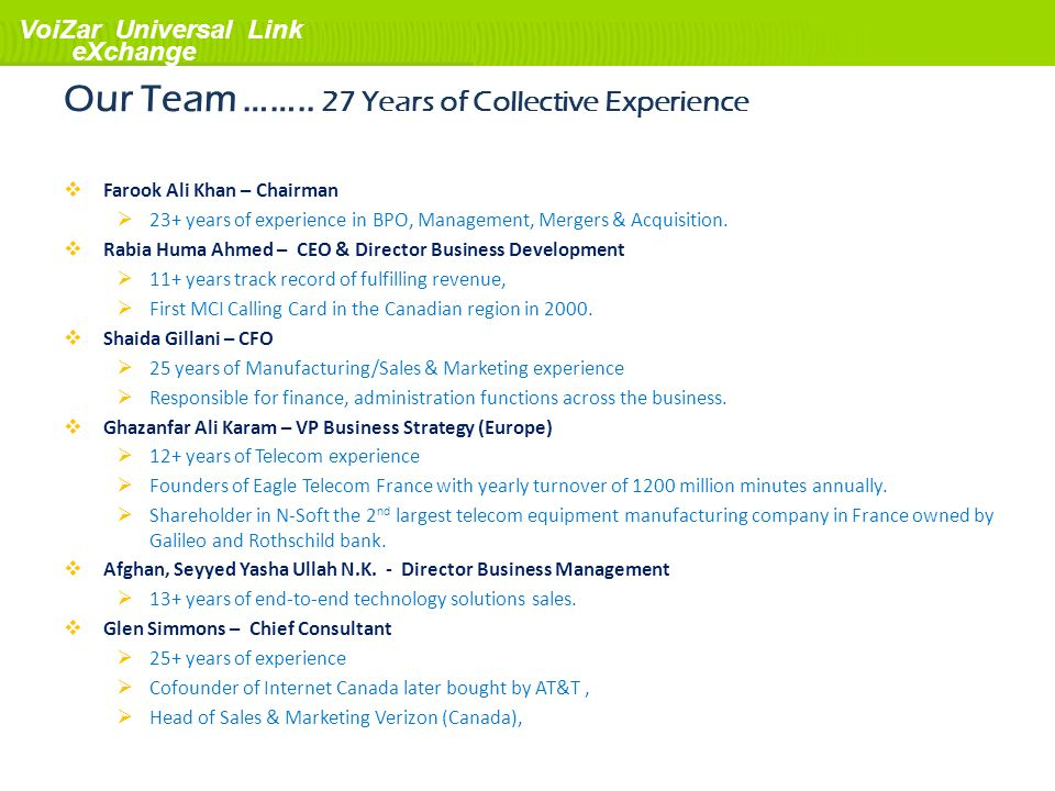 Our Team …….. 27 Years of Collective Experience