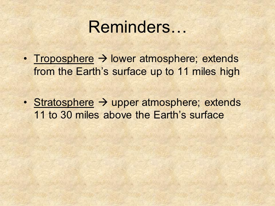 Reminders… Troposphere  lower atmosphere; extends from the Earth's surface up to 11 miles high.