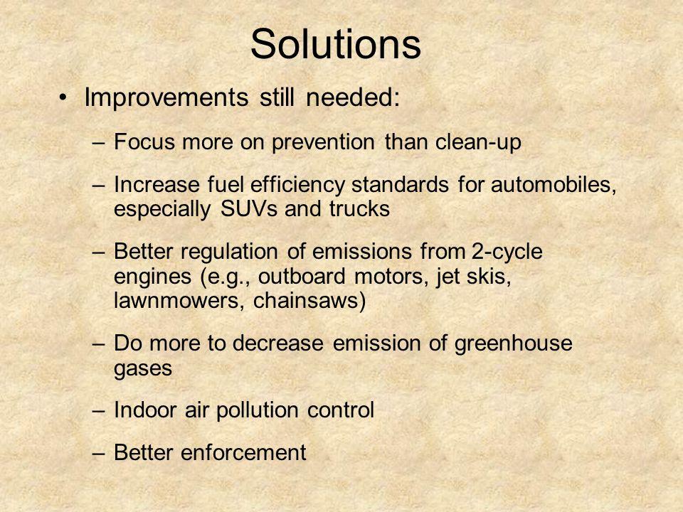 Solutions Improvements still needed: