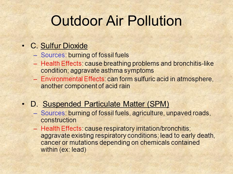 Outdoor Air Pollution C. Sulfur Dioxide