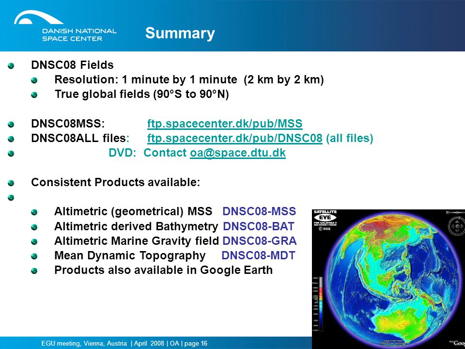Summary DNSC08 Fields Resolution: 1 minute by 1 minute (2 km by 2 km)